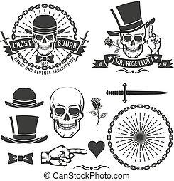 gangster, hipster, emblema, retro