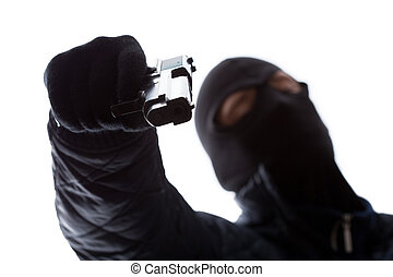 gangster, holdingen, a, gevär