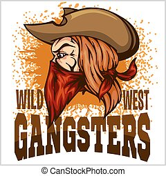 Gangster in retro scratch background - vector illustration...