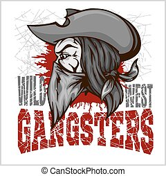 Gangster in retro scratch background - vector illustration ...