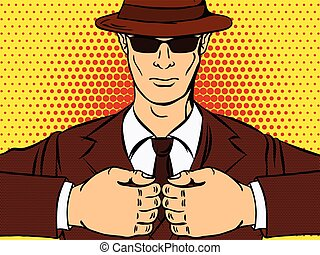 Gangster in the pop art style expresses aggression. Vector...