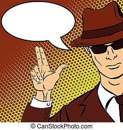 Gangster in the pop art style hints at the shot. Vector...