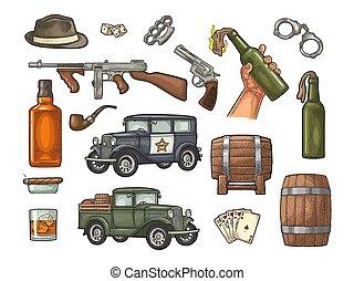 Gangster mafia set. Engraving vintage vector black illustration.