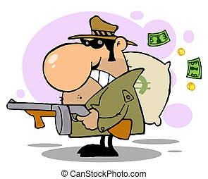 Gangster Man with his Gun and Bag of Money, background