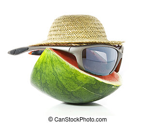 Gangster melon - A melon wearing a hat and sunglasses