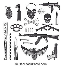 Gangster Monochrome Elements Set - Gangster monochrome ...