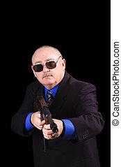 gangster, oder, regierung, agent, fbi, agent, aus, a, schwarzer hintergrund