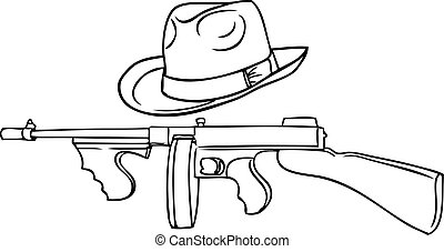 gangster set - automatic Thompson and Theodore hat.