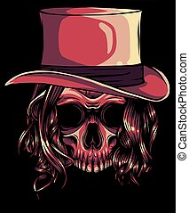 Gangster skull . Death head with hat vector