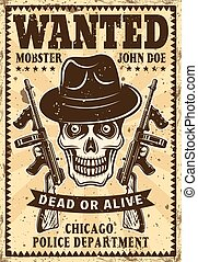 Gangster skull in hat wanted vintage poster