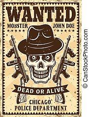 Gangster skull in hat wanted vintage poster
