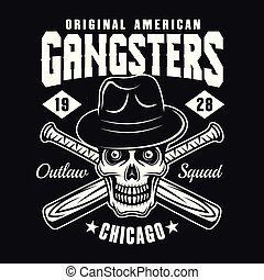 Gangster skull in hat with baseball bats on black