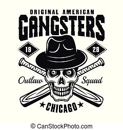 Gangster skull in hat with baseball bats on white