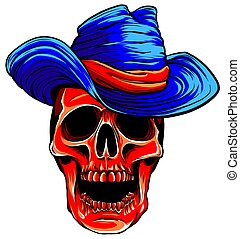 Gangster skull tattoo. Death head with cigar and hat vector