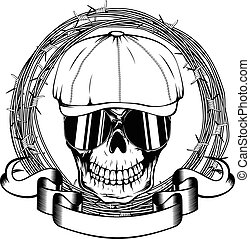 gangster skull - Vector illustration skull in cap with...