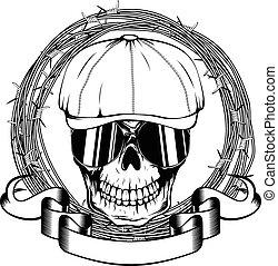 gangster skull - Vector illustration skull in cap with ...