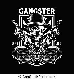 Gangster Skull With Machine Guns