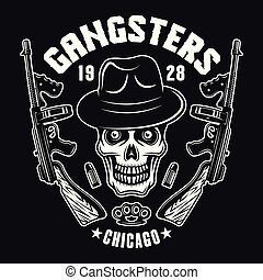 Gangster skull with two machine guns on black