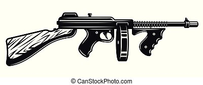 Gangster submachine gun monochrome illustration - Gangster ...