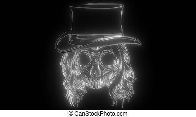 gangster, tête, crâne, mort, chapeau