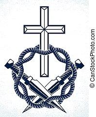 Gangster thug emblem or logo with Christian Cross, vector...