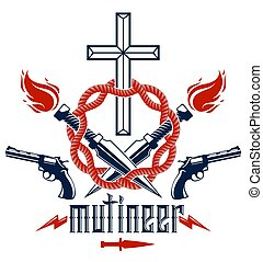 Gangster thug emblem or logo with Christian Cross, weapons ...