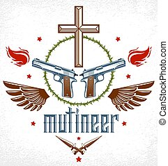 Gangster thug emblem or logo with Christian Cross, weapons...