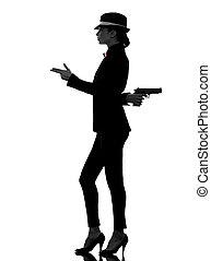 gangster, vrouw, moordenaar, silhouette, geweer