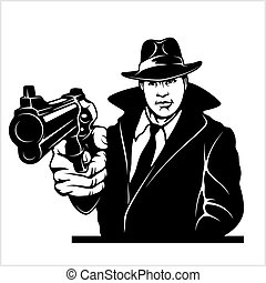 Gangster with Gun. COP with colt. Vector illustration ...