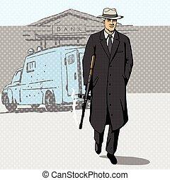Gangster with gun walking from bank pop art vector -...