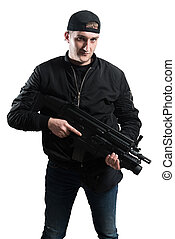 Gangster With Rifle Isolated On White Background