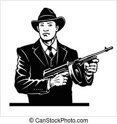 Gangster with Thompson submachine gun. Vector illustration...
