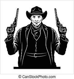 Gangster with two pistols. Sheriff with colts. Vector illustration