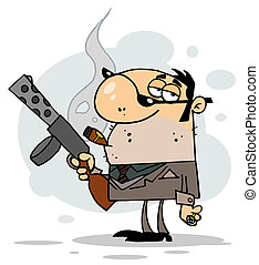 gangster, zeichen, karikatur