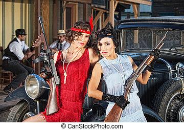 gangsters, aantrekkelijk, vrouwlijk, boordgeschut