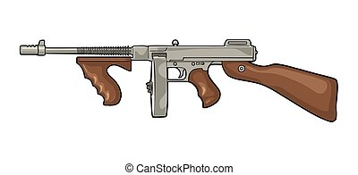 Gangsters automatic weapon Tommy gun. Flat vintage