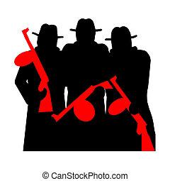 gangsters, geweer, tommy