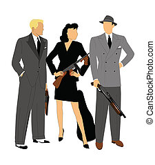 gangsters in action - gangsters with weapons and female with...