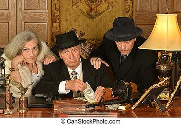 gangsters, kameraden, in, retro stijl