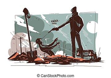 Gangsters killing man vector illustration. Killer shooting ...