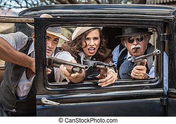 Gangsters Shooting From Car - Vintage gangsters shooting...