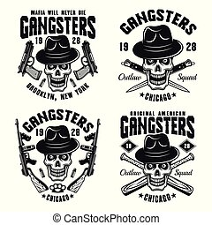 Gangsters vector emblems with skull in hat
