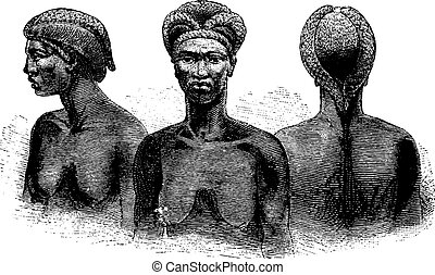 Ganguela Women from the Edges of the Kavango River in Angola in Southern Africa, engraving based on the English edition, vintage illustration. Le Tour du Monde, Travel Journal, 1881
