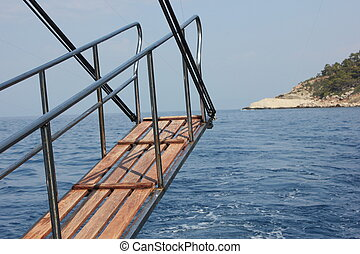 Gangway of a motorboat at sea