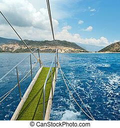 gangway, ship's, mar, fundo