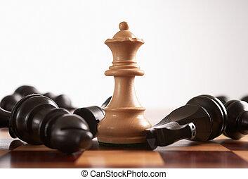 ganha, jogo, rainha, xadrez