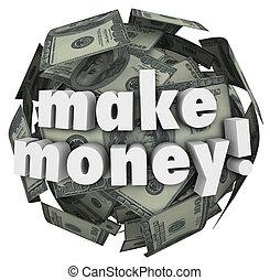 ganhar, bola, rendimento, lucro, dinheiro, fazer, moeda corrente, renda