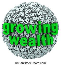 ganhar, bola, riqueza, sinal dólar, palavras, renda, crescendo