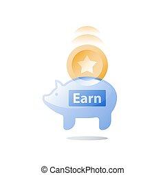 ganhar, conceito, banco, bônus, tokens, lealdade, dinheiro,...