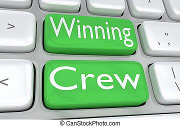 ganhar, conceito, tripulação